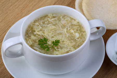 meat soup: Traditional Asian Сrab meat soup wih dill leaves