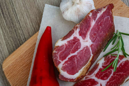 chuck: Smoked Chuck steak with pepper, rosemary and garlik Stock Photo