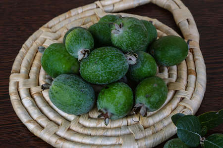 feijoa: Fresh ripe sweet Feijoa fruit with leaves
