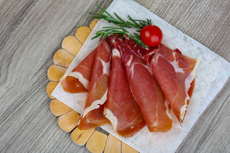jamon: Spanish traditional snack - Jamon  with tomato and rosemary