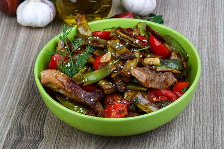 food       plate: Asian cuisine - Stir fried pork with vegetables