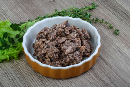 canned meat: Canned tuna meat for salad ready for cooking