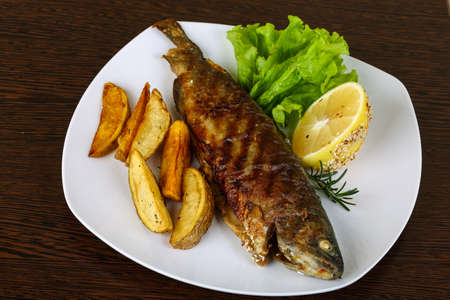 grill: Grilled trout with potato, salad leaves and lemon