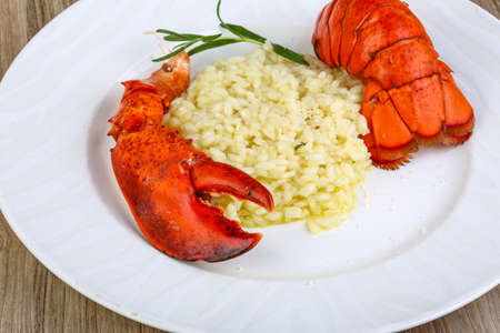 lobster dinner: Delicous Risotto with lobster served rosemary and parmesan