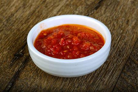 sauces: Sauces assortie - ketchup, cream, soya etc Stock Photo