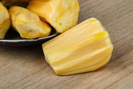 jack fruit: Tropical Jack Fruit on the wood background Stock Photo