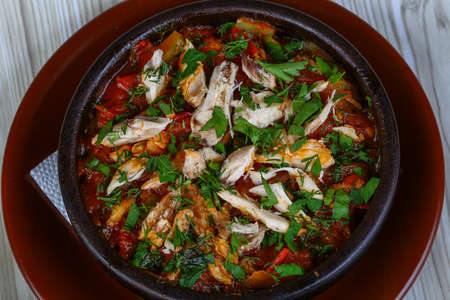 georgian: Georgian cuisine - Chahohbili - chicken with vegetables and spices Stock Photo