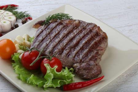 ribeye: Grilled Ribeye steak with pepper, thyme and garlic