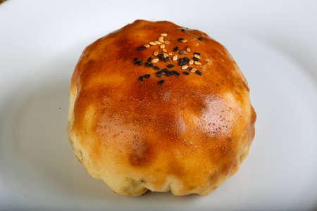 uzbek: Uzbek traditional pastry - samsa with meat and spices
