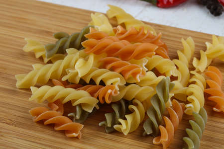 fusilli: Italian pasta - fusilli heap ready for cooking