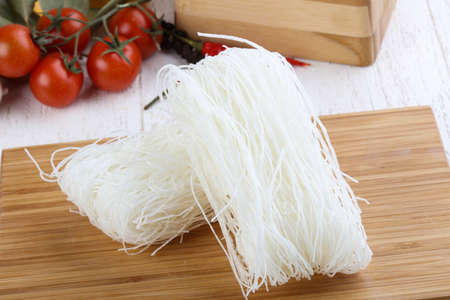cellophane: Asian vermicelli - Cellophane noodle on wood background