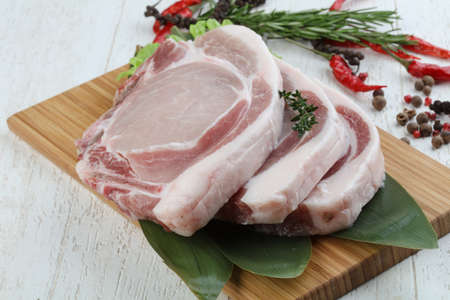 tbone: Raw pork t-bone steak ready for cooking Stock Photo