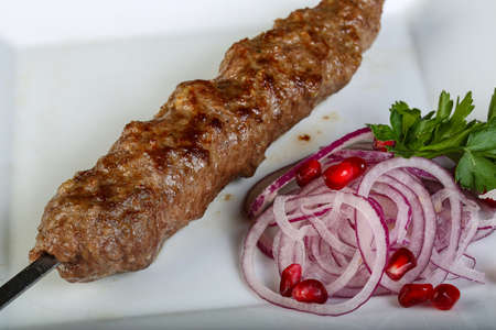 seekh: Meat kebab served onion, parsley and pomegranet seeds Stock Photo