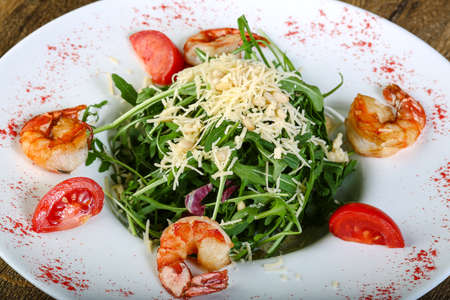 rucola: Salad with prawn, tomato and rucola Stock Photo