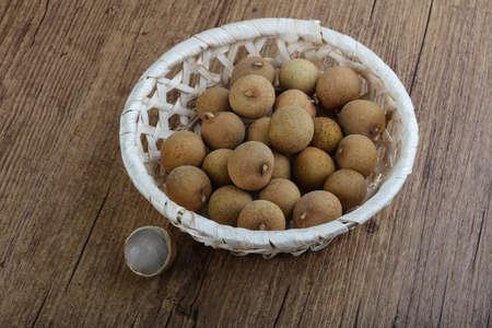 flesh colour: Tropical fruit Longan in the basket