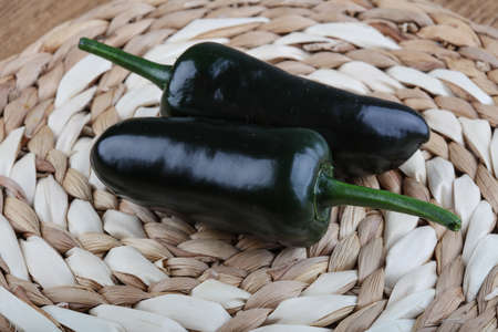 jalapeno: Jalapeno pepper on the wood background Stock Photo