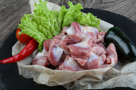 offal: Chicken stomach with pepper ready for cooking