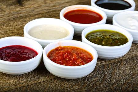 Sauces assortie - ketchup, cream, soya etc Foto de archivo