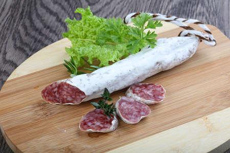 dry sausage: Spanish dry salami sausage Fuet with rosemary
