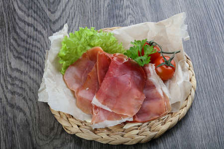 jamon: Spanish Jamon with salad and parsley