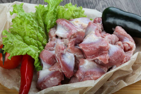gizzard: Chicken stomach with pepper ready for cooking