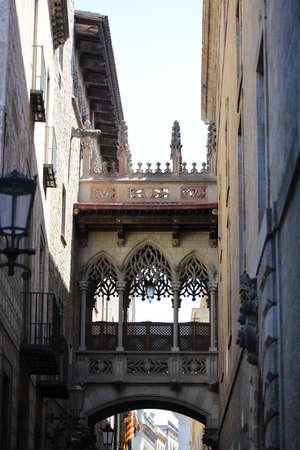 gotico: Casas hist�ricas de Barri G�tic. Barcelona, ??Espa�a Foto de archivo