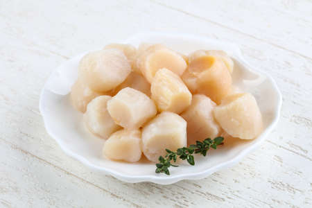 Raw scallops with thyme - ready for cooking Banque d'images