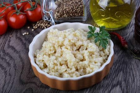 bulgur: Traditional wheat dish - bulgur with parsley Stock Photo