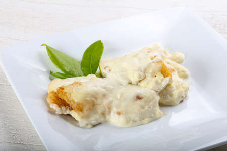 perch: Baked perch in cream sauce with rosemary