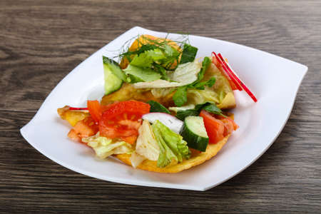 Pita with vegetables, raddish, and dill