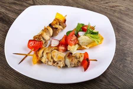 Chicken skewer with bell pepper and onion Stock Photo