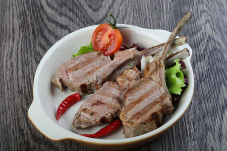 mutton chops: Lamb Frenched Rack grilled rib bone