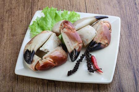 delicadeza: Fresh seafood - Crad claws with delicacy meat Foto de archivo