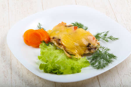 baked chicken: Baked chicken with mushroom, tomato and cheese