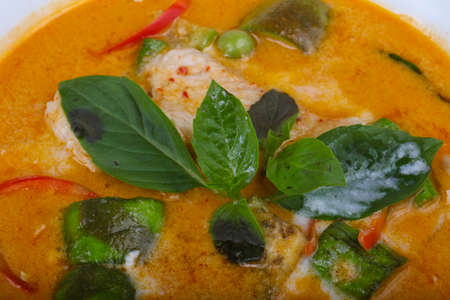 thai chili pepper: Red curry with basil leaves and chicken Stock Photo