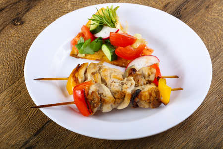 skewer: Chicken skewer with bell pepper and onion Stock Photo