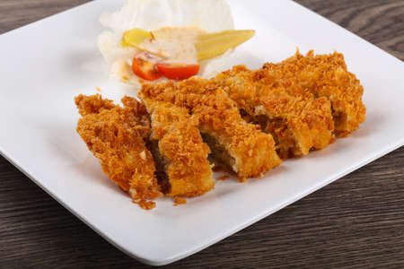 Crispy Pork with cheese and salad leaves