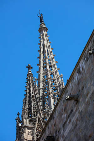 gotico: Historic houses of Barri Gotic. Barcelona, Spain
