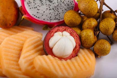 fruit mix: Tropical fruit mix - melon, longan, mangosteen, dragonfruit