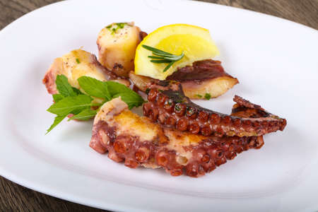 Grilled octopus with lemon and parsley leaves