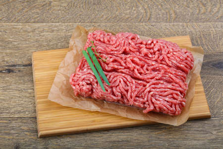 minced beef: Raw Minced beef with onion ready for cooking Stock Photo