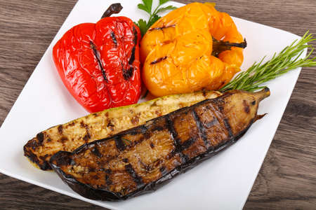 grilled vegetables: Grilled vegetables - eggplant, zucchini and pepper with rosemary Stock Photo
