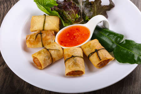Traditional Asian spring roll with shrimps and vegetables Stock Photo
