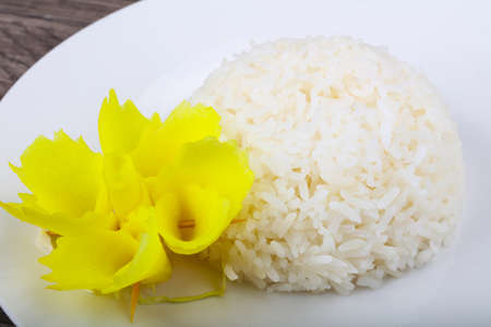 Hot long Steamed rice on the plate Stock Photo