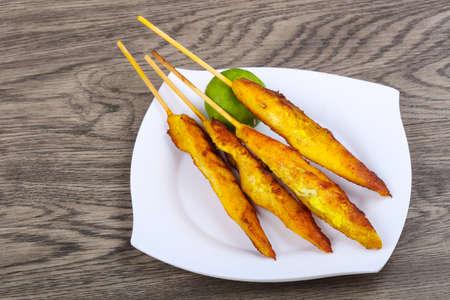 chicken satay: Chicken satay - Thai traditional cuisine grilled skewer