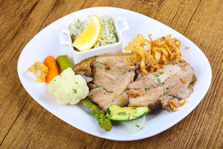 Czech cuisine - roasted pork with asparagus and vegetables