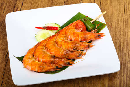 Prawn skewer on banana leaves - Thai style