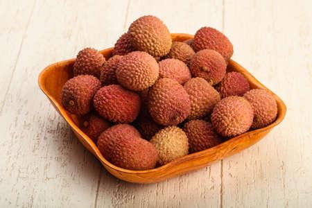 Fresh tropical fruit heap - ripe lychee