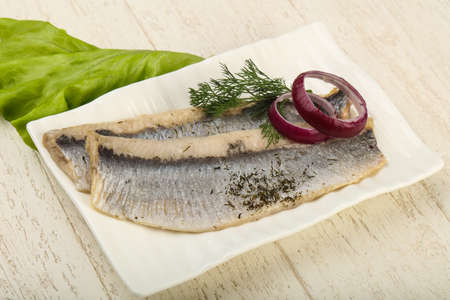 Herring fillet with dill and onion Reklamní fotografie