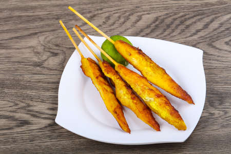 Chicken satay - Thai traditional cuisine grilled skewer